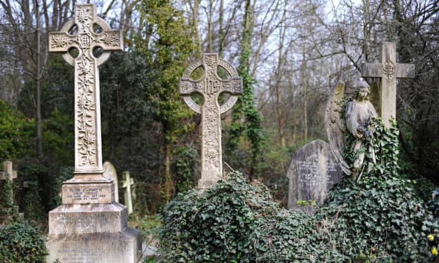 Gravestones in Highgate Cemetery in north London, where a plot can cost £20,000.
