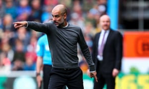 Pep Guardiola gesticulates to his players during last week's win at Burnley.