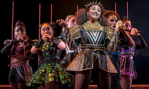 Catherine of Aragon (Adrianna Hicks, centre) performs 'No Way' in Chicago Shakespeare Theatre's production of 'Six'.