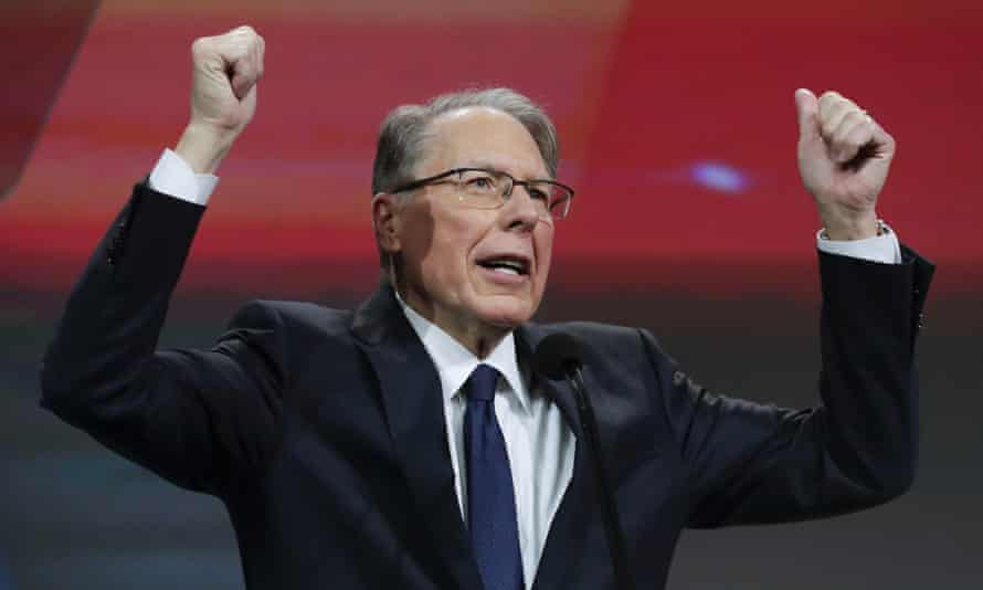 Wayne LaPierre speaks at the NRA annual meeting in Indianapolis, Indiana, on 27 April.