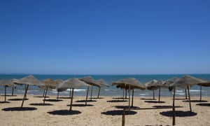 An empty beach in the resort of Gammarth, in north-east Tunisia.