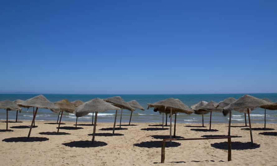 An empty beach in the resort of Gammarth, north-east of Tunisia, a few days after a gun attack on tourists in Port El Kantaoui.