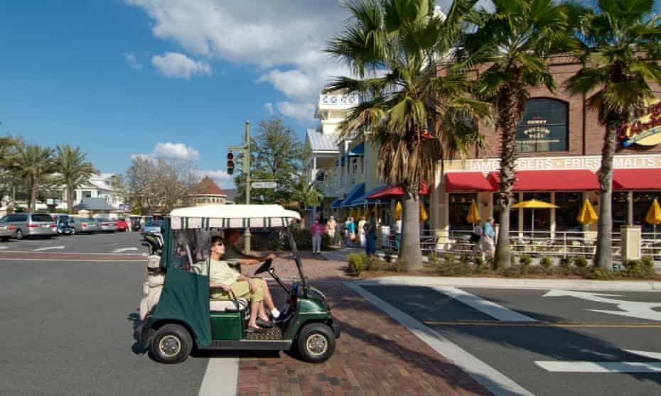 Golf cart users at The Villages in Florida.