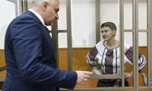 Mark Feygin and Nadezhda Savchenko in a Donetsk, Russia, court earlier this month.