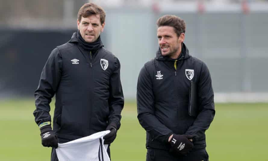 Jonathan Woodgate (left) is not expected to be a long-term replacement for Jason Tindall (right) at Bournemouth.