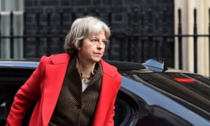 Theresa May arrives for a cabinet meeting at Downing Street