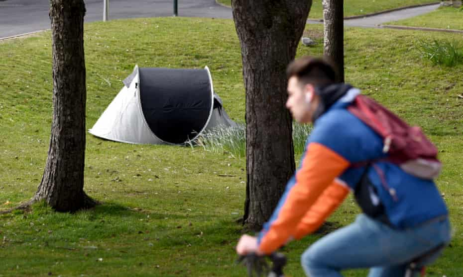 A homeless person's tent in Bournemouth