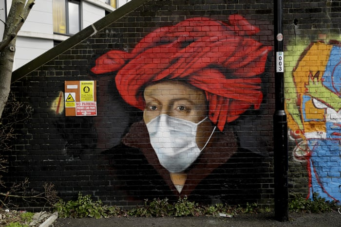 London, England. A mural by street artist Lionel Stanhope on a bridge wall in Ladywell, south-east London Photograph: Matt Dunham/AP