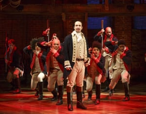Lin-Manuel Miranda (centre) performs with the cast of Hamilton in New York.