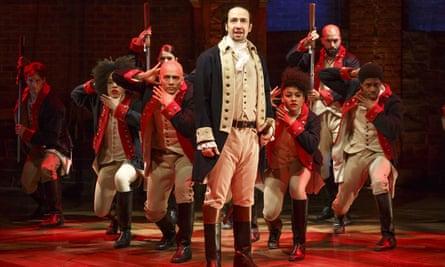 Lin-Manuel Miranda and cast perform in Hamilton in New York. Photograph: Joan Marcus/The Public Theater via AP