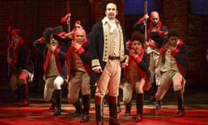 Lin-Manuel Miranada, center, performs with members of the cast of Hamilton in New York.
