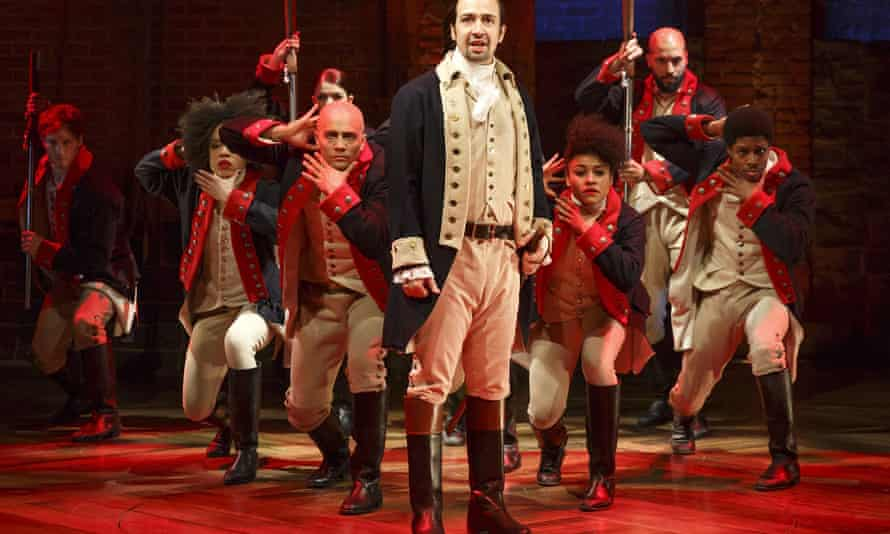 The cast of Hamilton at the Public Theater, New York.