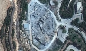 A satellite photo made available by DigitalGlobe, showing the Barzah Research and Development Center in Damascus, Syria, after the attack by British, American and French forces last week.