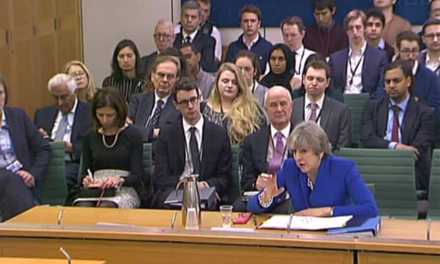 Theresa May before the Commons liaison committee.
