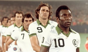 Pele, pictured here with No9 Giorgio Chinaglia and No7 Tony Field, was once a star for the Cosmos. Would Adam Gabbatt join their storied ranks?