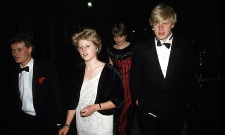 Boris Johnson arriving at Viscount Althorp's 21st birthday party in May 1985 with his sister Rachel and friends.