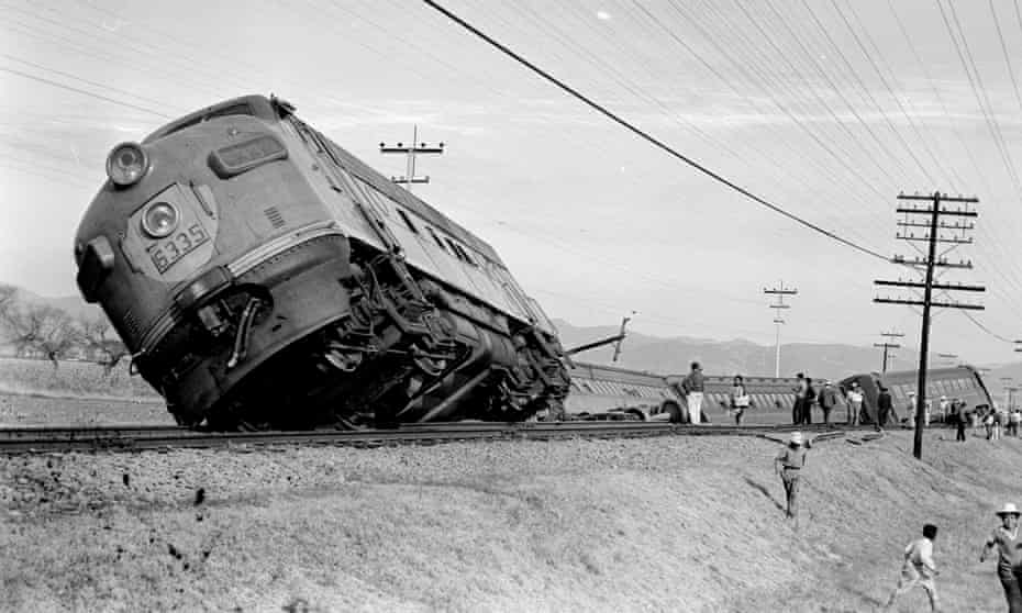 Powerful … a derailed train in Mexico state in 1965.