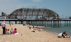 Eastbourne pier, the day after it was damaged by fire.