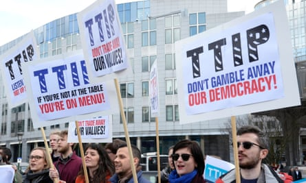 Activists demonstrate against TTIP