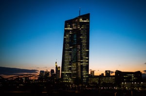 European Central Bank (ECB) headquarters during sunsetepa04734876 The headquarters of the European Central Bank (ECB) towering over the skyline shortly before sunset in Frankfurt, Germany, 05 May 2015. Frankfurt, home of the ECB, is the financial centre of mainland Europe. EPA/FRANK RUMPENHORST