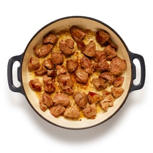 Gently sweat sliced onions in butter or oil, until golden, then brown the meat in batches in the same pan.