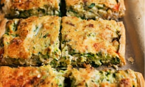 Baked to perfection: courgette and crab tart.