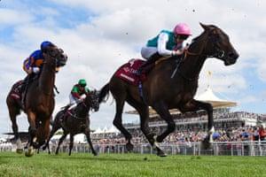 James Doyle and Sun Maiden finish fourth in the Qatar Nassau Stakes, which was won by Deirdre