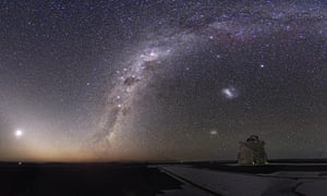 Total lunar eclipse and the Milky Way.