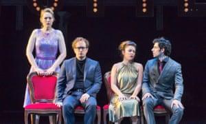 Angela Brower as Dorabella, Daniel Behle as Ferrando, Corrine Winters as Fiordiligi and Alessio Aruini as Gugliemo in the Royal Opera's new production of Cosi fan Tutte.