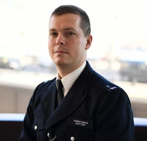 PC Stuart Outten at New Scotland Yard in London.