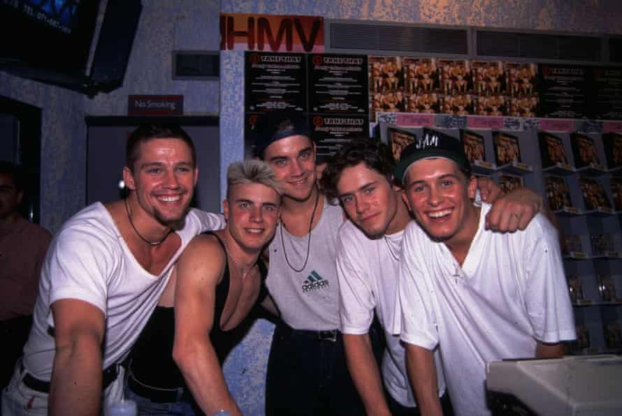 Take That at a signing session at HMV in April 1992.
