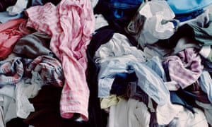 Pile of rumpled men's clothes, elevated view