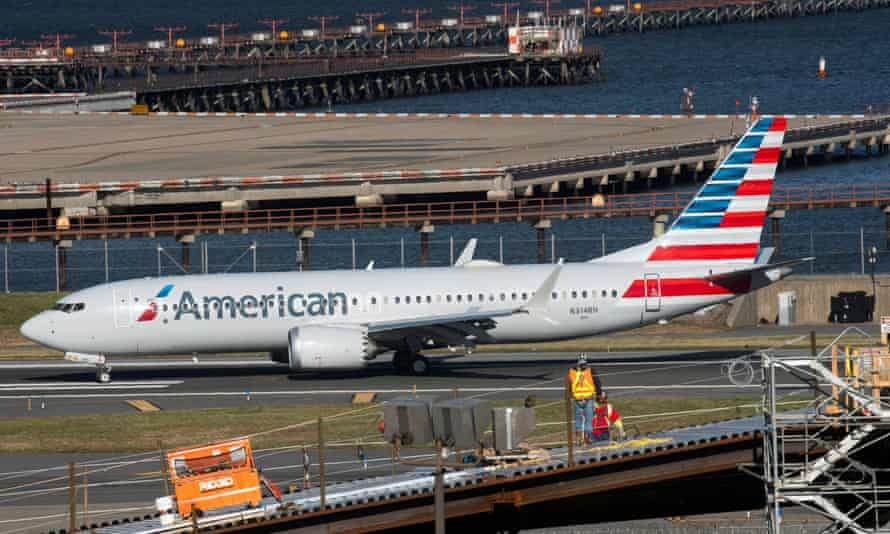 American Airlines flight 718, the first US Boeing 737 Max commercial flight since regulators lifted a 20-month grounding in November, lands at LaGuardia airport in New York, on Tuesday.