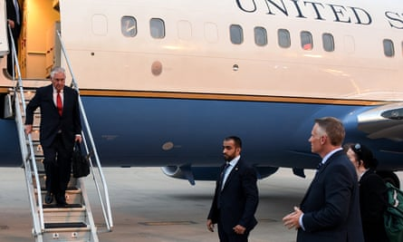 US Secretary of State Rex Tillerson disembarking from plane  in Kuwait