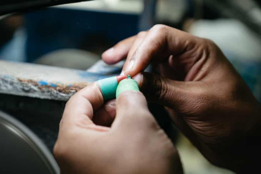 Cutting emeralds.