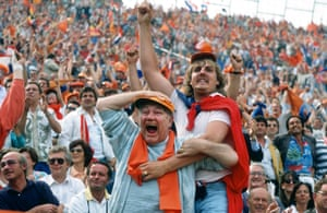 Dutch joy: 25 June 1988. Two Netherlands supporters erupt with joy as their side beat the Soviet Union 2-0 in the 1988 final. To date it remains the Netherlands' only major international trophy in men's football.
