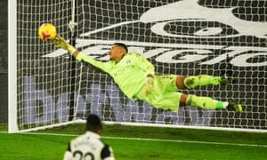 Fulham goalkeeper Alphonse Areola is beaten by a brilliant goal from Paul Pogba of Manchester United.