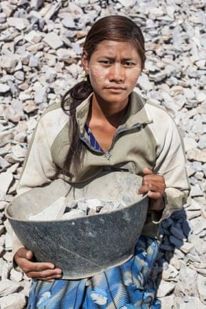 A roadworker near the city of Kyaukme, Shan state.