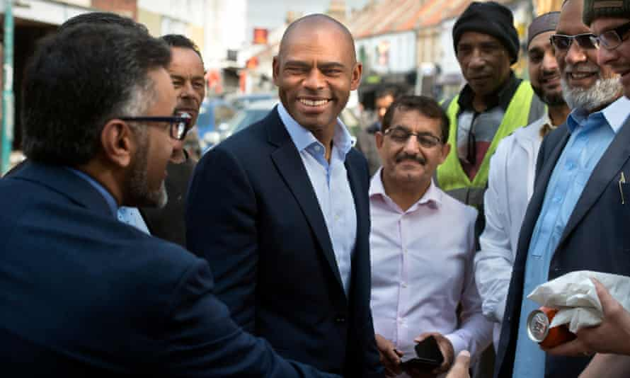 The mayor of Bristol, Marvin Rees, with supporters in the city.