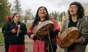 Drummers perform Sister, Sister, a song for missing and murdered indigenous women, at Morrill Meadows Park in Kent, Washington.