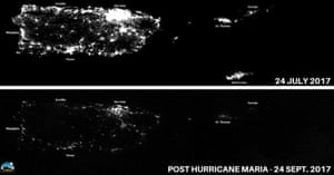 Night images of Puerto Rico before and after Hurricane Maria knocked out the power grid