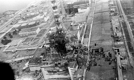 The remains of the Chernobyl nuclear power plant after the explosion.