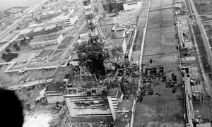 aerial view of the Chernobyl nuclear plant after the explosion in April 1986
