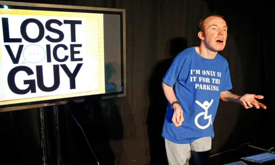 Lee Ridley as Lost Voice Guy at Glided Balloon, fringe festival 2018.