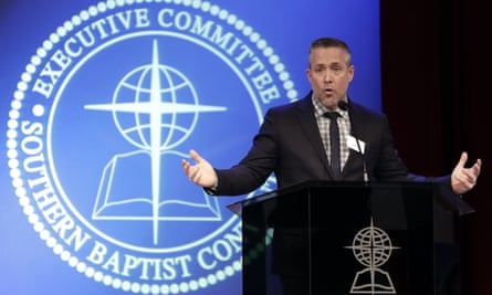 The president of the Souther Baptist Convention, JD Greear, speaks to the denomination's executive committee in Nashville, Tennessee on 18 February.
