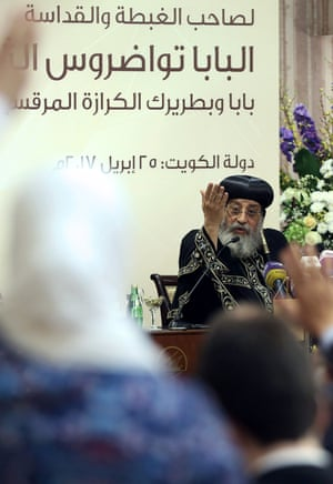 Pope Tawadros II speaks to the media in Kuwait City on Tuesday.