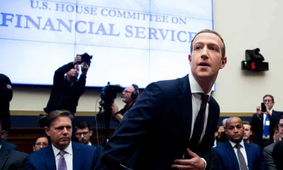 Facebook's Mark Zuckerberg at a US House Financial Services Committee hearing in Washington DC last month.