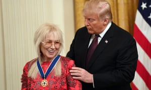 Donald Trump awards the Presidential Medal of Freedom to Miriam Adelson at the White House