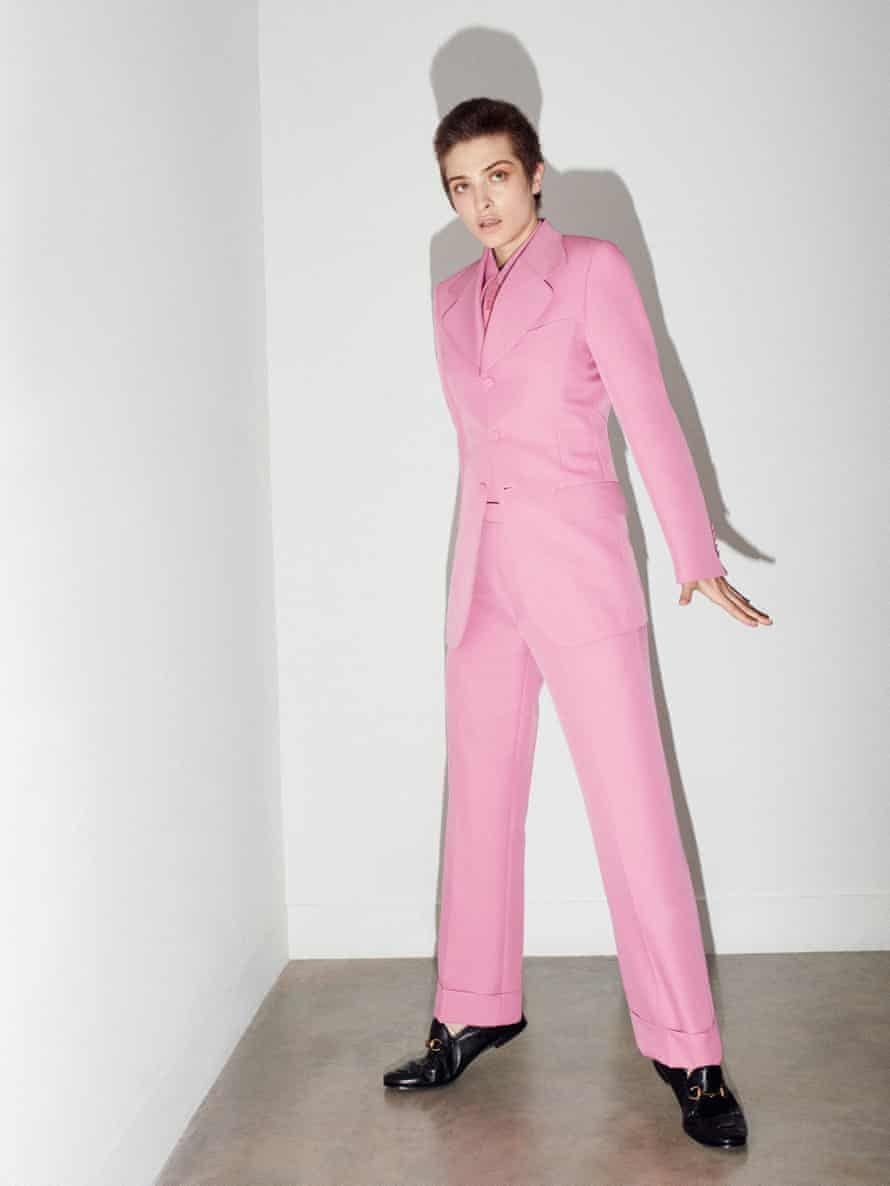 Lera Abova wears blazer, £1,310, shirt, £355, trousers, £435, tie, £145, and shoes, £410, by Gucci.