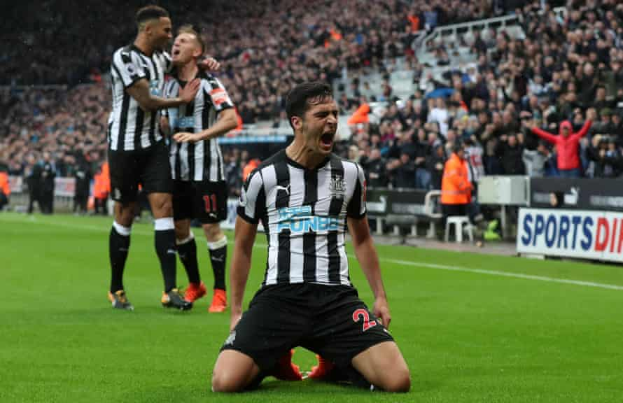 Mikel Merino celebrates after scoring Newcastle's winning goal against Crystal Palace last Saturday.